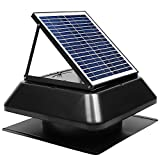 GBGS Solar Attic Fan 1750 CFM, IP68 Brushless DC Motor, Adjustable Solar Panel, 14 in 7 Fan Blades, 40db, Double Rust Free Anti-Aging, Easy Install, Size 23.6X23.6X9.8 in, 29 lb/Unit, 10 Years Warrant