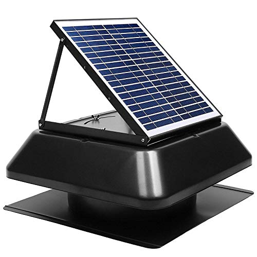 (GBGS Solar Attic Fan 1750 CFM, IP68 Brushless DC Motor, Adjustable Solar Panel, 14in Fan Blades, 40db, Double Rust Free Anti-Aging, Easy Install, 10 Years Warranty, Size 23.6X23.6X9.8in, 29lbs/Unit)