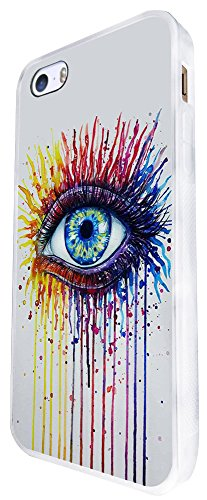1223 - Watercolour Sexy Eye Trendy Design iphone SE - 2016 Coque Fashion Trend Case Coque Protection Cover plastique et métal - Blanc