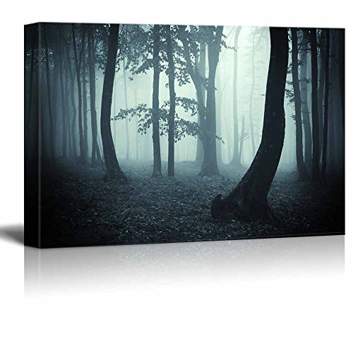 Trees in the Forest on a Foggy Morning Wall Decor ation