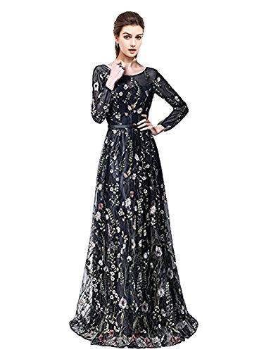 YSMei Women's Summer Embroidered Floral Long Sleeve Prom Dress Homecoming Party Gown Black 2