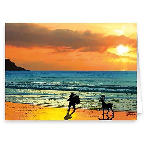 Beach Sunset Walk Christmas Card - 18 Boxed Beach Cards & Envelopes (Standard)