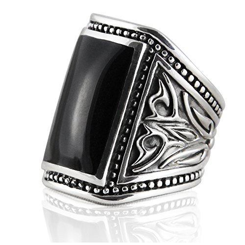 VY JEWELRY Solid 925 Sterling Silver Onyx Men Ring - Made in Thailand - Size 11 -