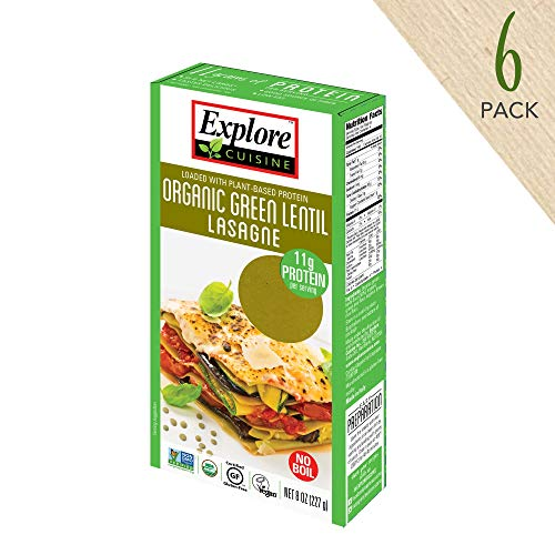 - Explore Cuisine Organic Green Lentil Lasagne (6 Pack) - 8 oz - High Protein, Gluten Free Pasta, Easy to Make - USDA Certified Organic, Vegan, Kosher, Non GMO - 24 Total Servings