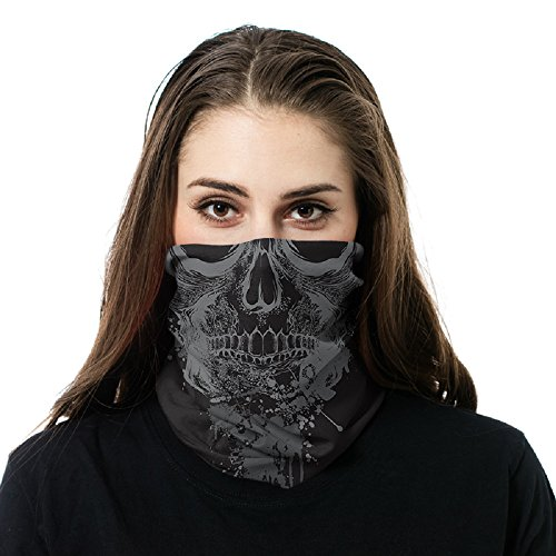GETTAC BANDZ - Protects Against Sun, Wind or Cold - Good for Men and Women - Sun Mask, Neck Gaiter, Face Mask, Multi functional, Magic Headwear, Face Wrao (Grey Skull)