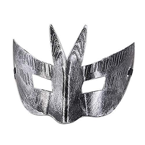 IDOXE Masquerade Mask for Men Black Gold Halloween Ball Half Roman Knight Masks Japanese Mardi Gras Adults Cosplay Party (Roman Silver) ()