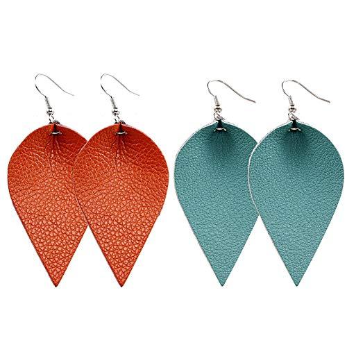Dangle Leather (Teardrop Leather Earrings Leaf Drop Dangle Earrings for Women 2 Pairs Pack (8+9))