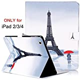 iPad 2 Case, iPad 3 Case, iPad 4 Case, Dteck(TM) High quality Folio PU Leather Case with Card Slots Auto Wake/Sleep Smart Book Shell Stand Cover for Apple iPad 2 3 4 (01 Eiffel Tower)