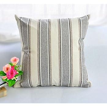 "BLUETTEK Cool Stripe Pillow Cases Cotton Linen Square Decorative Throw Cushion Cover-18"" x 18"" (Light Gray)"