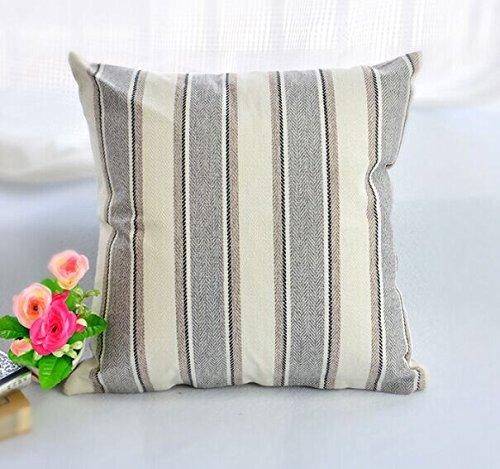BLUETTEK Cool Stripe Pillow Cases Cotton Linen Square Decora