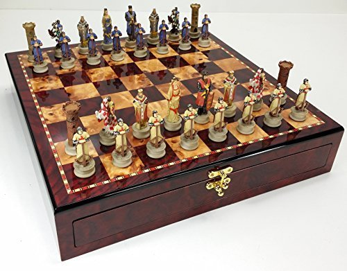 Medieval Times Crusades King Richard Knights Chess Set W/ High Gloss Cherry & Burlwood Color Storage Board 17