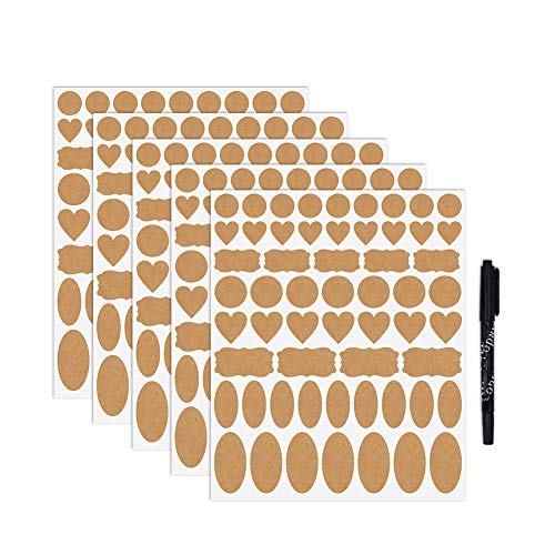 Nardo Visgo Kraft Paper Labels Stickers Sealing Stickers Assorted Size and Shapes for Essential Oil Bottles, Mason Jars, Food Storage Containers or Gift Decoration,5 Sheets(285 pieces)
