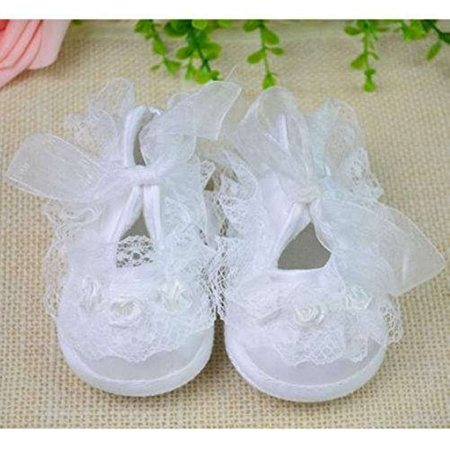 Girls Christening Booties (Rivchell Girls Christening Shoes Religious White New Born Baby 0-12 Months Lace Crib Soft Lace White Plain Fashion Stylish Casual (Size 11 9-9.5cm (3.54 Inches to 3.93 Inches))