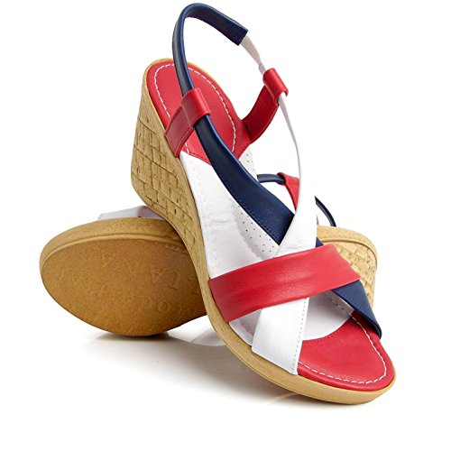 Red Ladies Mix Summer Quality Leather Sandals Batz High Backstrap Womens California zwtnvqZ