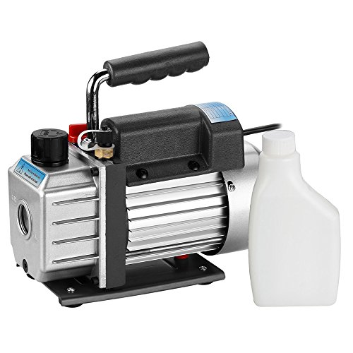 Flexzion Vacuum Pump HVAC Single Stage 3CFM 1/4HP Electric Rotary Vane Deep R134 R410a Refrigerant AC Air Condition HVAC Tool Equipment With 300ml Capacity and One Bottle (Busch Pump)