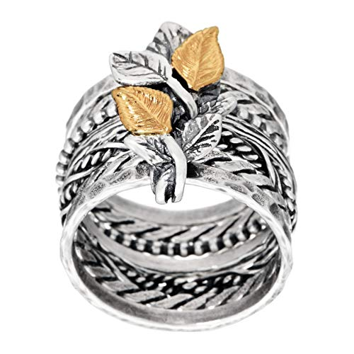 PAZ Creations .925 Sterling Silver Multi-Band Ring with 14K Gold Leaves (10)