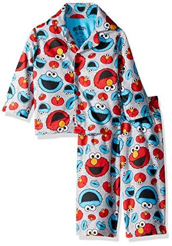 Sesame Street Baby Boys Elmo and Cookie Monster 2-Piece Pajama Coat Set, Gray Giggles, 12M