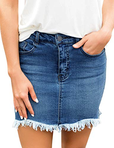 - luvamia Women's Casual Mid Waisted Washed Raw Hem Pockets Denim Jean Short Skirt Blue Size Small