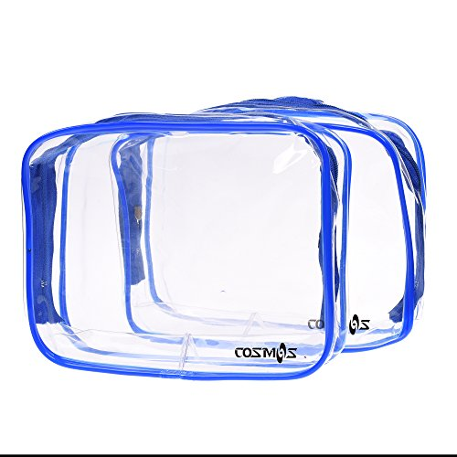 Cosmos 2 Pack Clear PVC Vinyl Zippered Luggage Toiletry Carry Pouch Travel Cosmetic Makeup Bag Clear Bag - What Color Cosmo Is