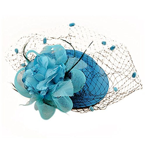 SODIAL(R) Hair Clip Headband Pillbox Hat Bowler Feather Flower Veil Wedding Party Hat Sky blue -