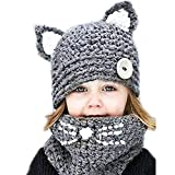 SENSERISE Winter Kids Warm Animal Hats Knitted Hood Scarf Beanies 4 Cat(3-10years Old)
