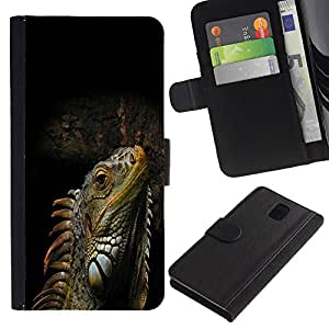 Planetar® Colorful Pattern Flip Wallet Leather Holster Protective Skin Case Cover For SAMSUNG Galaxy Note 3 III / N9000 / N9005 ( Cool Iguana Lizard Reptile )
