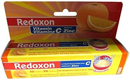 Redoxon Orange Effervescent Vitamin C with Con Zinc, 20 Tablets (6 Pack)