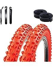 "2 x Roverstone 26"" fietsband fietsjas rood 57-559 (26x2,125) + 2 slangen DV incl. 3 bandenlichters"