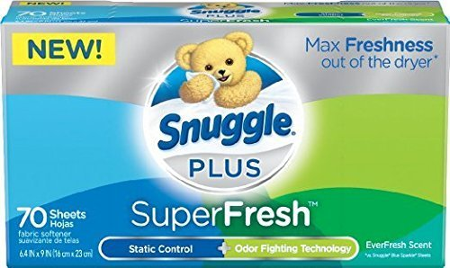 Snuggle Plus Super Fresh Fabric Softener Dryer Sheets with Odor Fighting Ingredients, 70 Count (Pack of 3)