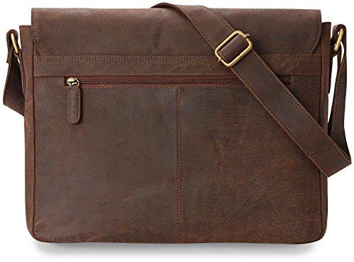 LEABAGS Boston bolso de mensajero de auténtico cuero búfalo en el estilo vintage - NuezMoscada NuezMoscada