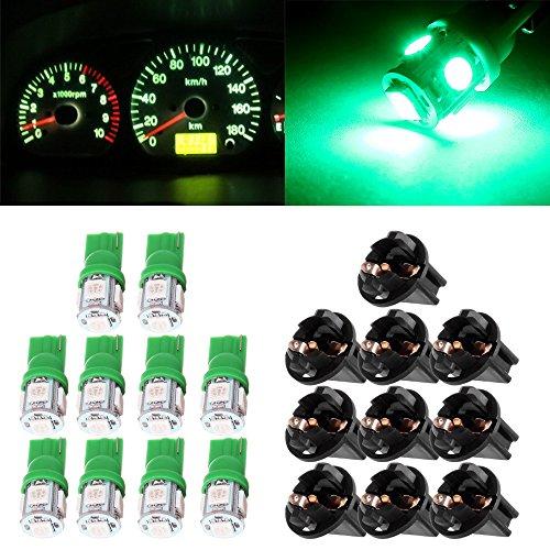 Price comparison product image cciyu 10Pack T10 Green 5-5050-SMD 194 168 161 2825 Instrument Panel Dash Light Bulb w / Twist Lock Socket