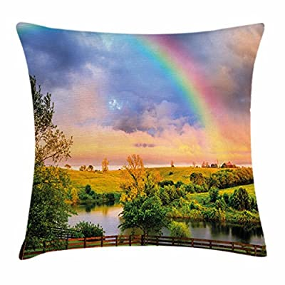 Rainbow Throw Pillow Cushion Cover by Ambesonne, Kentucky Countyside with Lively Green Pastures River and a Rainbow, Decorative Square Accent Pillow Case, Hunter Green Multicolor