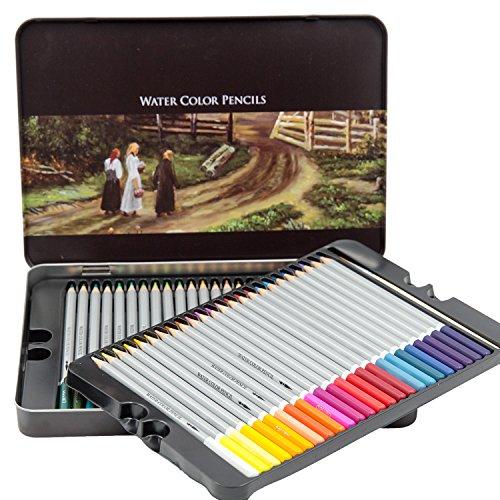 [Deli Watercolor Pencils - Premium set of 48 Fine Art Water Color Pencils in an beautiful metal case. Vibrant, Vivid Pencils for Art Students & Professionals. Also ideal for Coloring Book enthusiasts.] (48 Color Set)