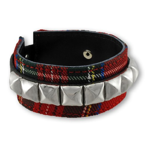 Leather Mens Leather Bracelets Red Tartan Plaid And Black Leather Wristband With Pyramid Studs Red (Pyramid Wristband)