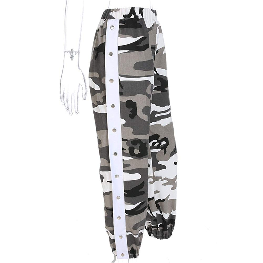 TAESOUW-Clothing Womens Relaxed Pants Women High Waisted Cargo Pants Junior Casual Camoflage Camo Snap Buttons Jogger Pants Sports Harem Baggy Hip Hop Rock Dance Trousers Outdoor Jogging Sweatpants