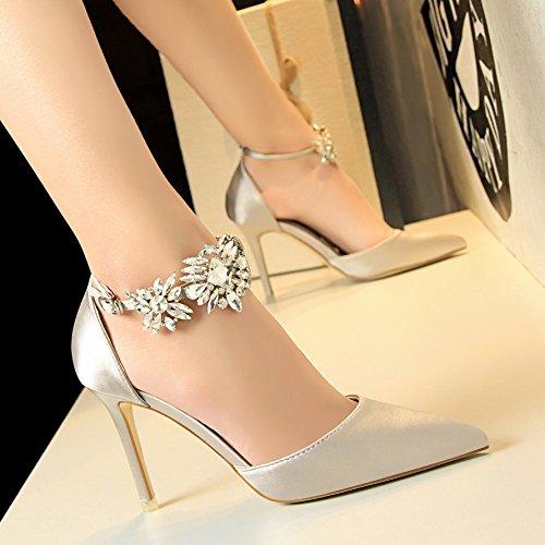 Con Taladro Tipo Sandalias Baotou Tacones Xing De Lin Fuerte Mujer Zapatos Y Sandalias Agua Super Y De Raso Nuevo silvery De A500Xqxw