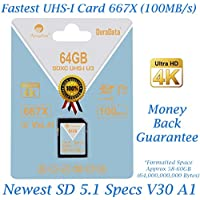 Amplim 64GB SDXC SD Card (V30 A1 U3 UHS-I Class 10 Extreme Pro) 64 GB Ultra High Speed 667X 100MB/s UHS-1 XC Flash Memory Storage for HD/UHD/4K Videos - Camera, Computer, Camcorder. 64G New Feb 2018
