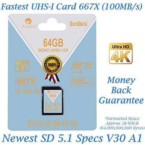 Price comparison product image Amplim 64GB SDXC SD Card (V30 A1 U3 UHS-I Class 10 Extreme Pro) 64 GB Ultra High Speed 667X 100MB/s UHS-1 XC Flash Memory Storage for HD/UHD/4K Videos - Camera, Computer, Camcorder. 64G New Feb 2018