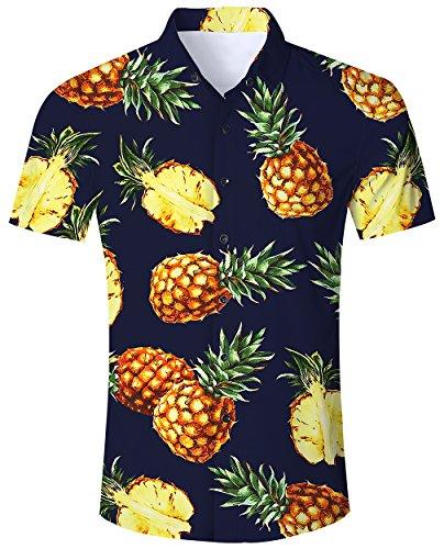 Mens Hawaiian Shirt 3D Pineapple Printed Tropical Casual Aloha Short Sleeve Summer Surf Tee Shirts