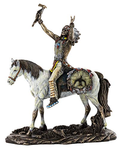 Top Collection Plains Indian Riding Horse Statue- Native American Indigenous Warrior Sculpture in Premium Cold Cast Bronze with Colored Accents - 11-Inch Collectible Museum Grade Figurine
