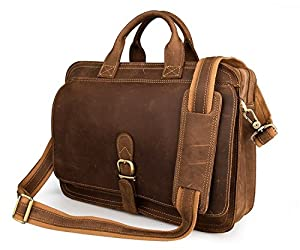 Mens Crazy Horse Leather Brown Color Briefcase Front Flap Cover Messenger Tool Bag Handcrafted In Italy