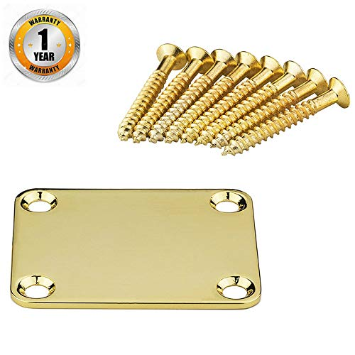 Neck Plate with Crews with 8 Screws Neckplate Guitar Neck Plate Electric Guitar Neck Mounting Plate Electric Guitar Pad Black Fender Strat Bass Telecaster Deluxe Engraved Guitar Stratocaster Gold