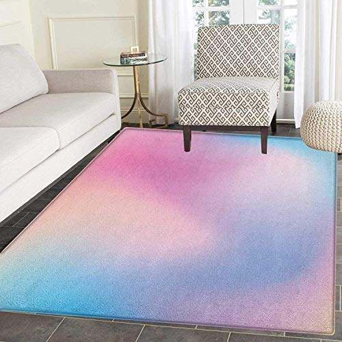 Pastel Rug Kid Carpet Abstract Blurry Colors Composition Sweet Daydream Fantasy Miscellaneous Home Decor Foor Carpe 2'x3' Pink Aqua Peach White