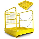 "VEVOR Forklift Safety Cage Aerial Rails 36""x36"" Forklift Safety Cage Work Platform Heavy Duty Steel Construction Fold Down Lift Basket 1102 Lbs Capacity (36x36 Inch)"