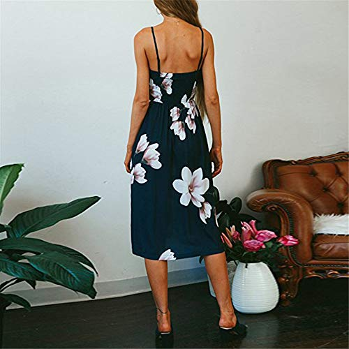 LitBud Women Sundresses Summer for Women Ladies Spaghetti Strap Casual Vintage Party Holiday Button Down Vacation Midi Swing Easter Dress with Pockets Floral Navy Blue Size 8 10 L