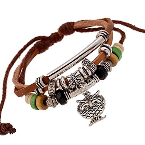 victoria-echo-handmade-beads-owl-charms-brown-leather-cuff-wrap-bracelet