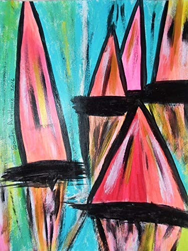 SAIL BOATS:: Abstract POP Modern ART Style - Acrylic Original Painting on White Paper - SIZE:11
