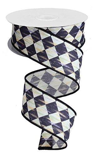 Black Harlequin Ribbon: Black and Cream Wired Ribbon 1.5