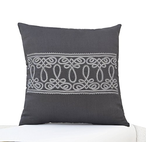 Amore Beaute Decorative Grey Throw Pillow Cover   French, Cord Embroidery Linen Pillow -