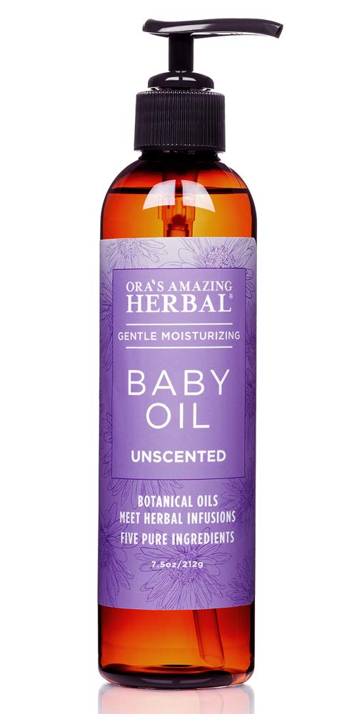Natural Baby Oil, Natural Skin Care for Babies, Unscented Infant Massage Oil with Soothing Organic Calendula and Licorice Root, Fragrance Free, Ora's Amazing Herbal by Ora's Amazing Herbal